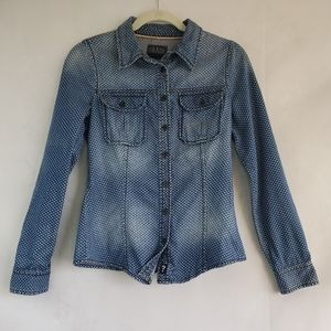 Vintage Guess Polka dotted Faded Denim Shirt